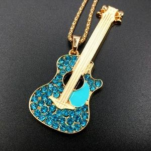 Betsey johnson guitar pendant necklace new